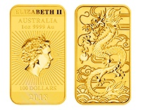 1 Unze Gold Dragon Rectangle 2018   --> eine Münze in Barrenform