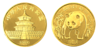 1/2 Unze Gold China Panda 1986