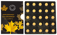 25 x 1g Gold MapleGram der Royal Canadian Mint